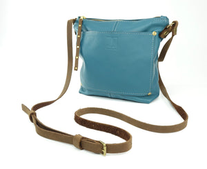 Small Crossbody Purse in Teal Blue Leather