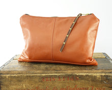 Load image into Gallery viewer, Leather Zip Pouch - Large in Shimmery Terracotta