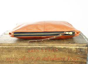 Leather Zip Pouch - Large in Shimmery Terracotta