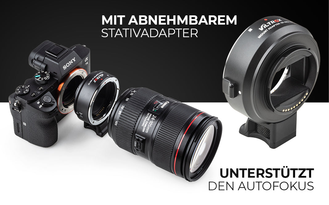Mit abnehmbaren Stativadapter