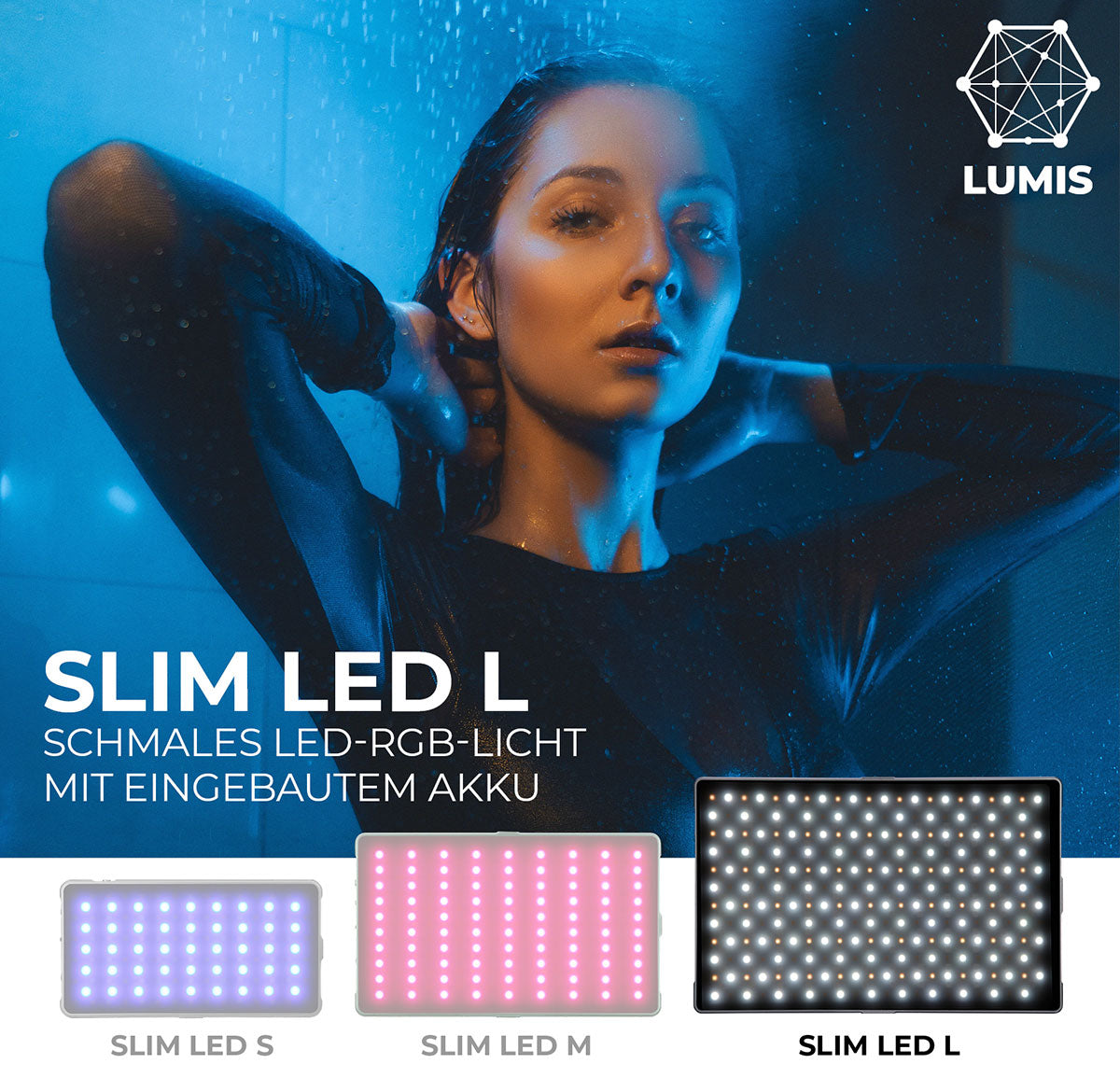 Lumis Slim LED L - flaches RGB LED-Licht mit eingebautem Akku