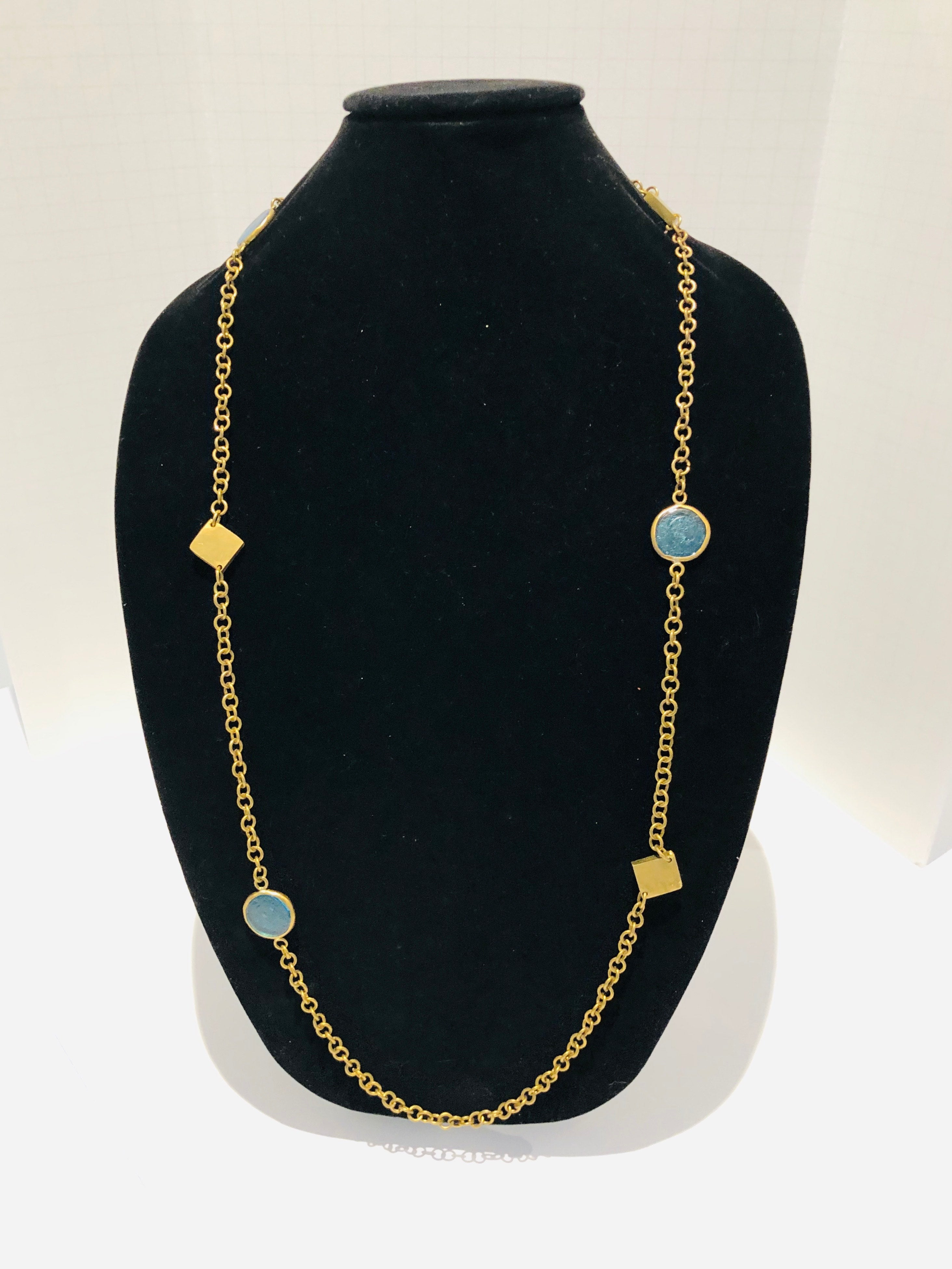 Brass Embellished Necklace with African Glass & Brass Squares | Kenya