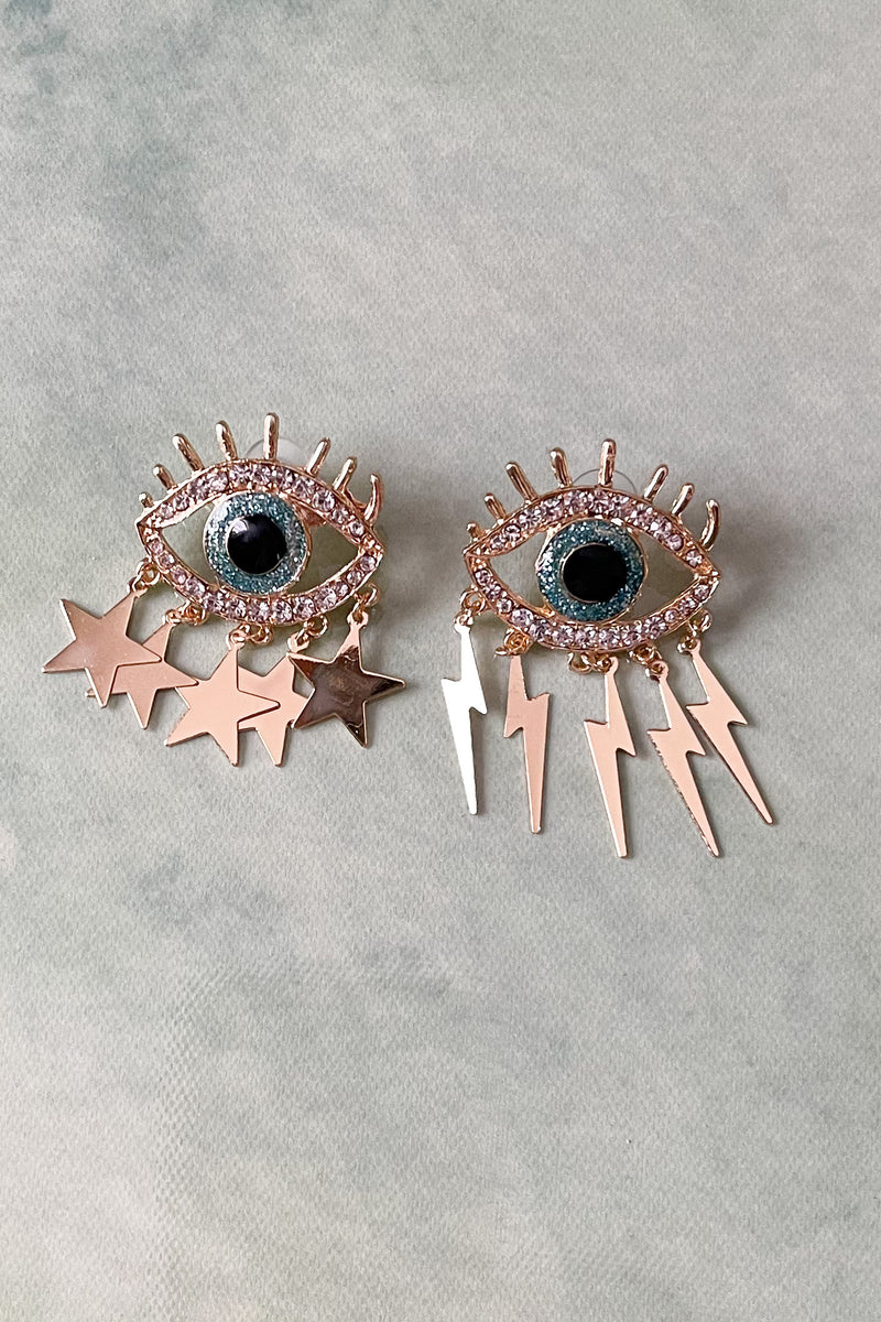 Gold Lightning and Star Eye Earring