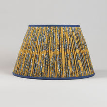 Load image into Gallery viewer, 18'' Gathered Orange and Navy Paisley Lampshade