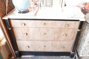 French Empire Pickled & Ebonized Chest