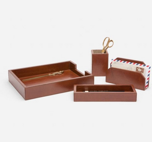Tobacco Leather Desk Accessories