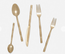 Load image into Gallery viewer, Gold Bamboo 5-Piece Flatware Set