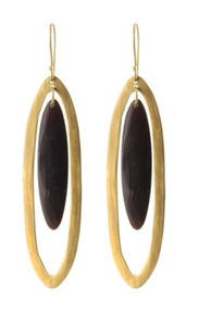 Long Floating Black Horn Earrings