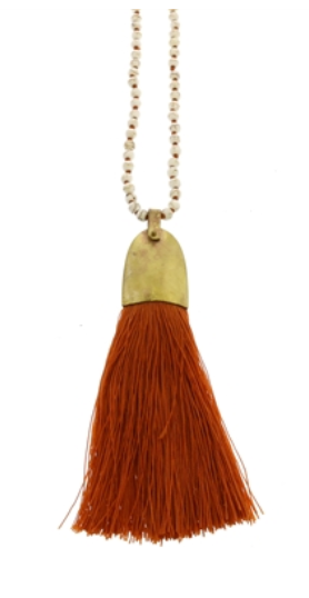Persimmon Tassel Necklace
