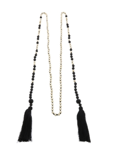 Black and White Lariat Necklace