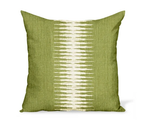 Green Stripe Ikat Pillow 22""