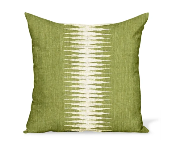Green Stripe Ikat Pillow 22