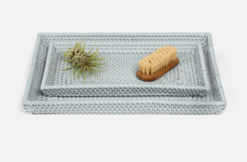 Large Blue Rattan Tray, 13