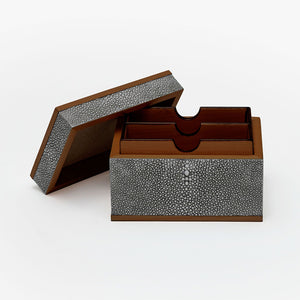 Faux Shagreen Business Card Holder