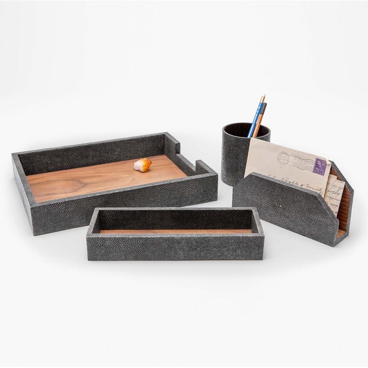 Faux Shagreen Desk Accessory Set