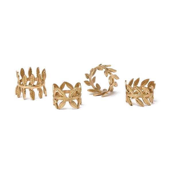 Gold Brass Laurel Leaf Napkin Rings, Set of 4
