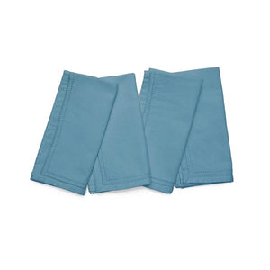 Dusty Teal Cotton Canvas Eyelet Napkins, Set of 4