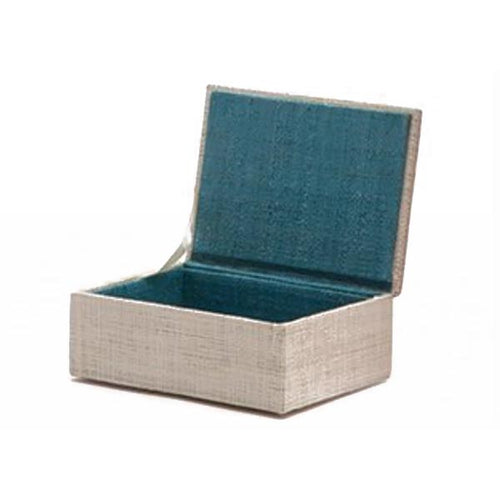 Ivory and Turquoise Small Raffia Box