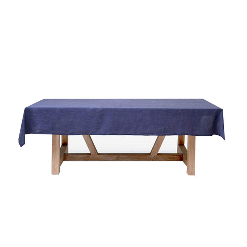 Ink Blue Linen Tablecloth, 70