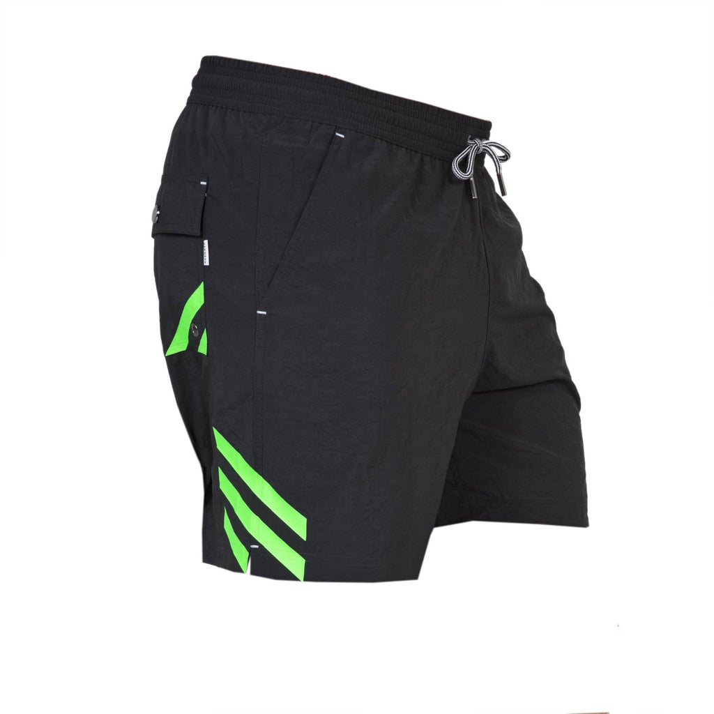 ELASTICATED MID-LENGTH SWIM SHORT WITH PRINT DETAIL