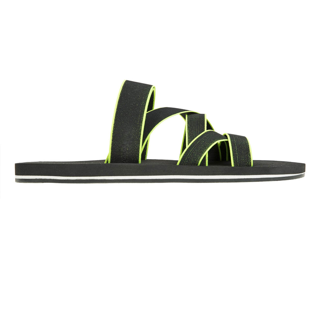 ELASTICATED MULTI-STRAPPED SLIDE WITH BICOLORED MICRO BOTTOM