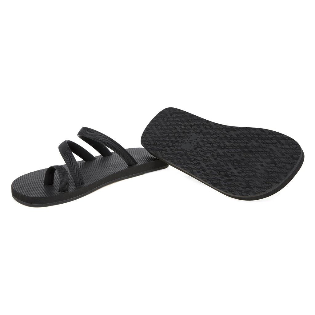 BLACK  FLIP-FLOP WITH ASYMMETRIC CAGED UPPER