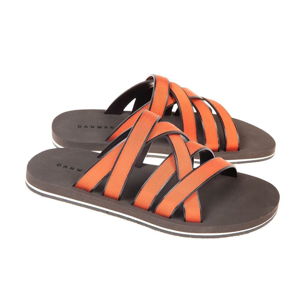 LEATHER AND COTTON WEBBED MULTI-STRAPPED SANDAL WITH BICOLORED MICRO SOLE