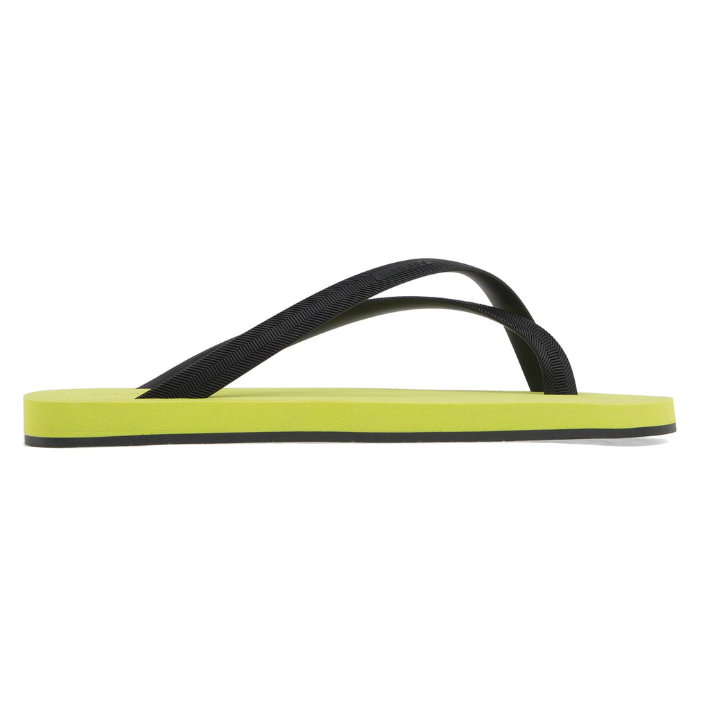 BICOLORED CROSS TOE FLIP-FLOP, GREEN WITH BLACK