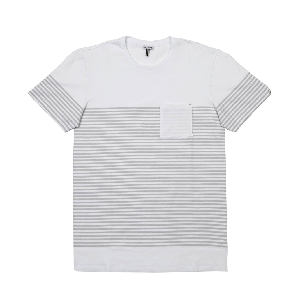PIMA COTTON SCOOP NECK T-SHIRT WITH STRIPE PRINT