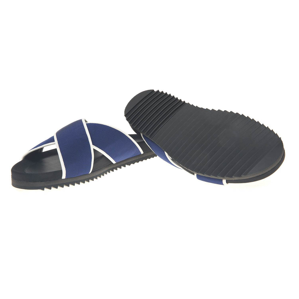 LEATHER AND NYLON WEBBED BEACH SLIDE WITH RUBBER SHARK TOOTH BOTTOM