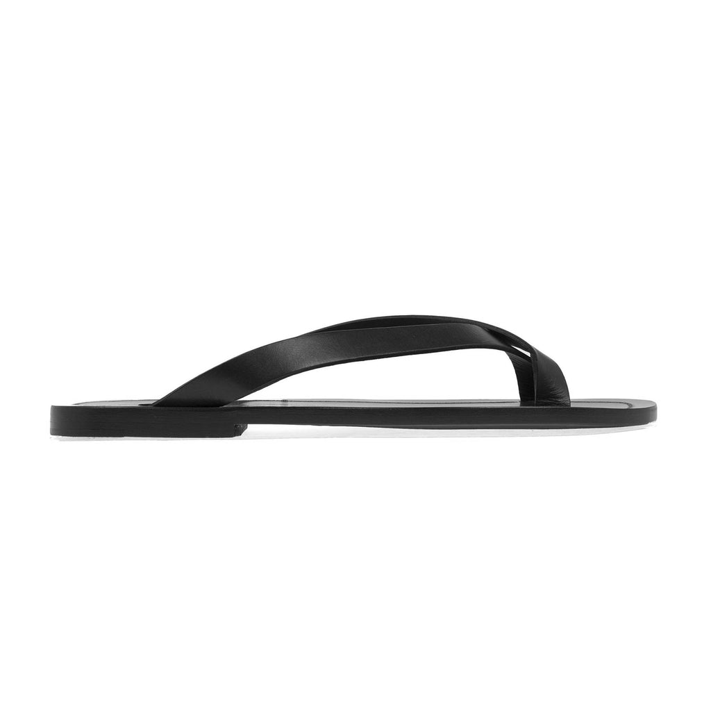 ELEGANT LEATHER CROSS-TOE SANDAL WITH HALF RUBBER SOLE