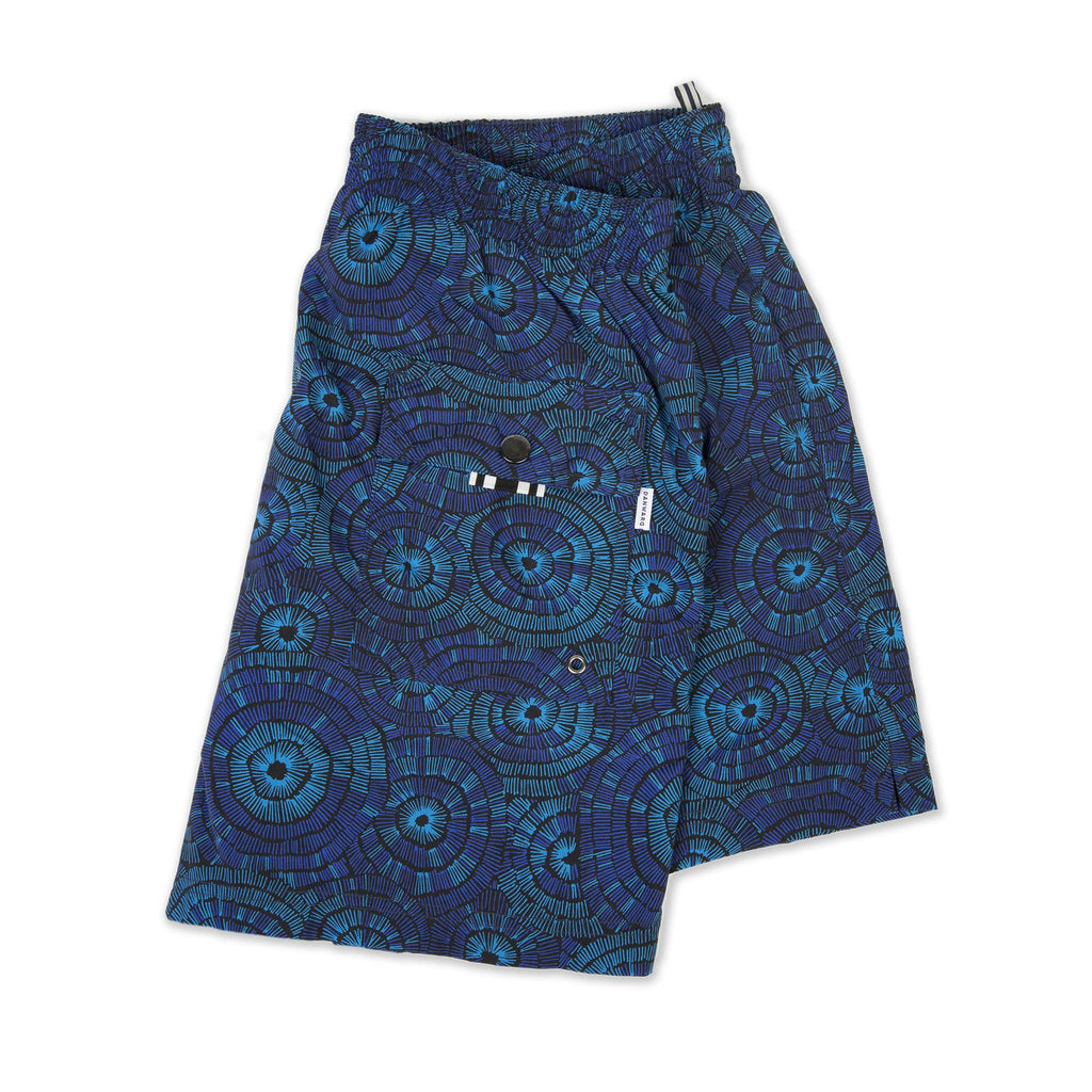 NAVY PRINT ELASTICATED MID-LENGTH SWIM SHORT