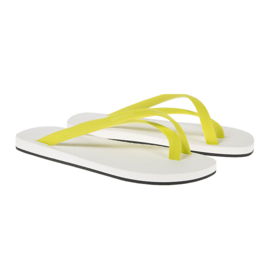 BICOLORED CROSS TOE FLIP-FLOP, WHITE WITH LEMON