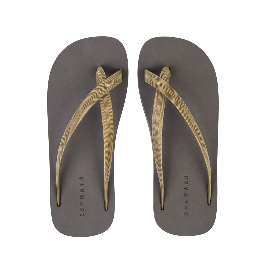BICOLORED CROSS TOE FLIP-FLOP, MUD WITH GOLD