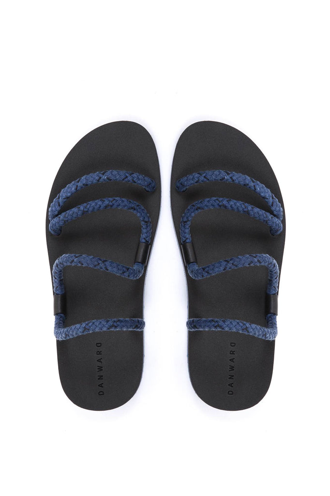 COTTON CORD LACED SANDAL WITH BICOLORED MICRO SOLE