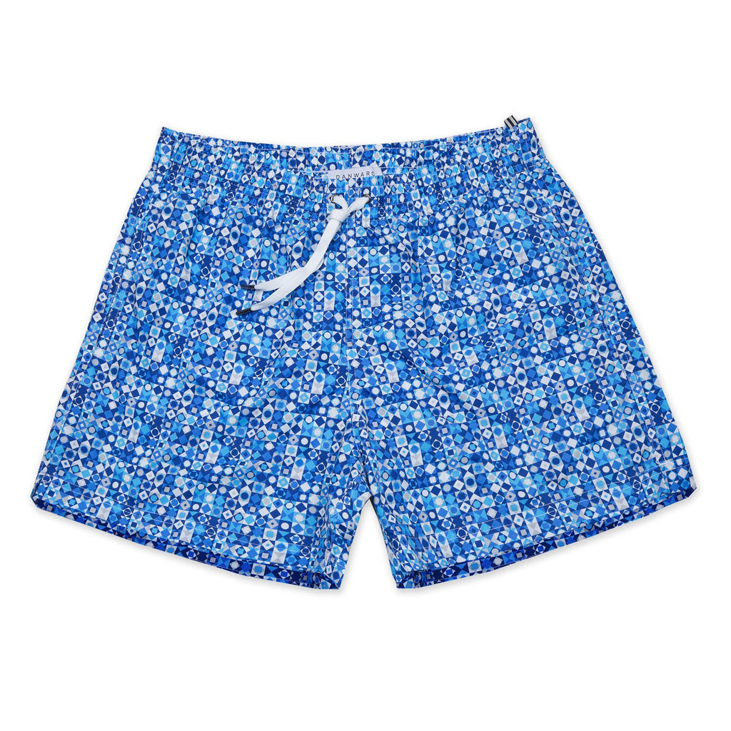 OCEAN PRINT ELASTICATED MID-LENGTH SWIM SHORT