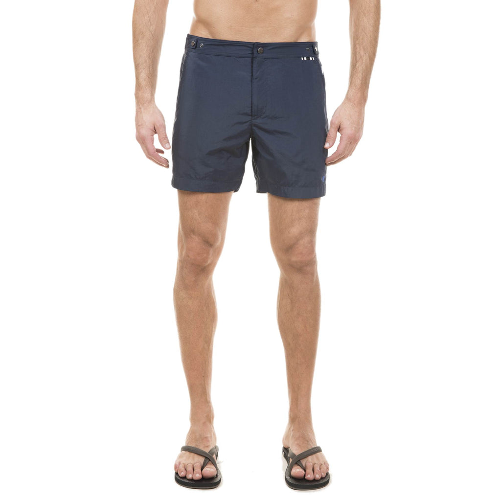 NAVY TAILORED MID-LENGTH SWIM SHORT