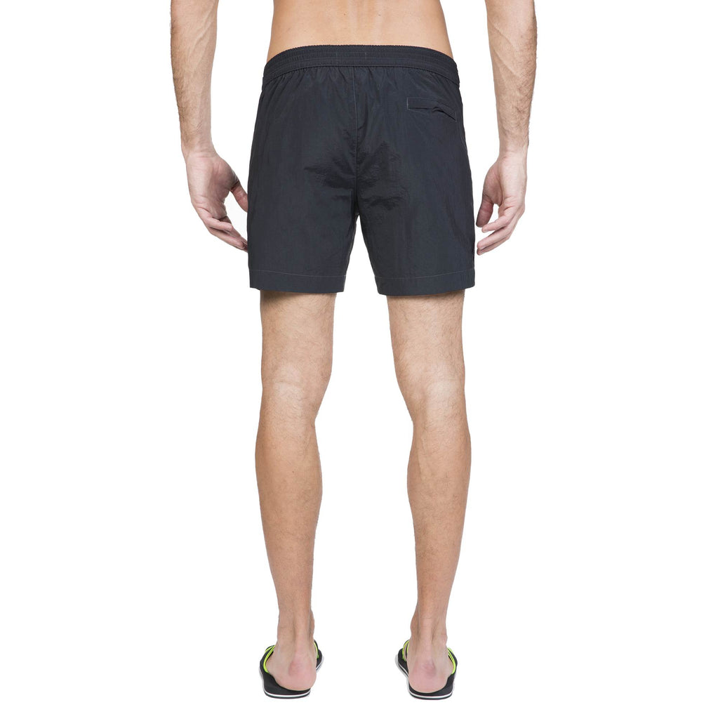 BLACK TAILORED MID-LENGTH SWIM SHORT