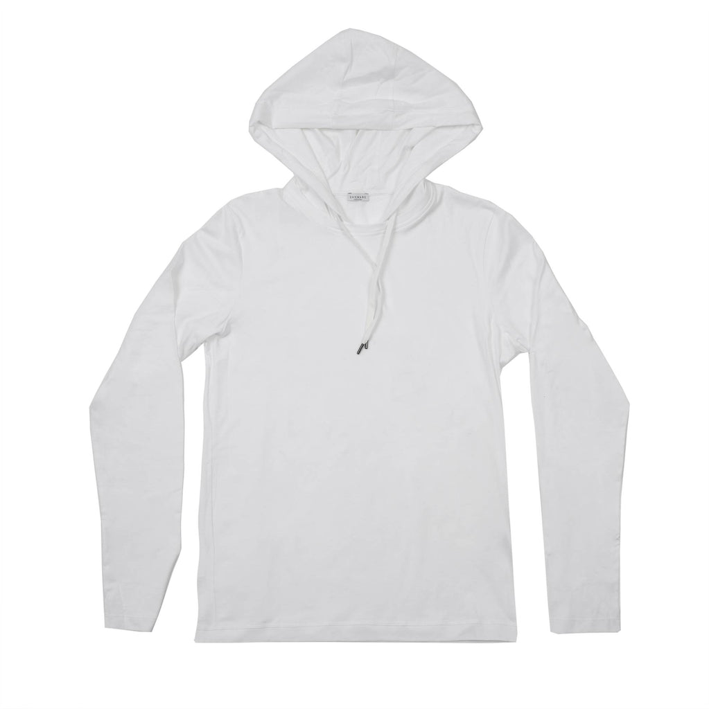 COTTON JERSEY LONG SLEEVE TEE SHIRT WITH HOOD