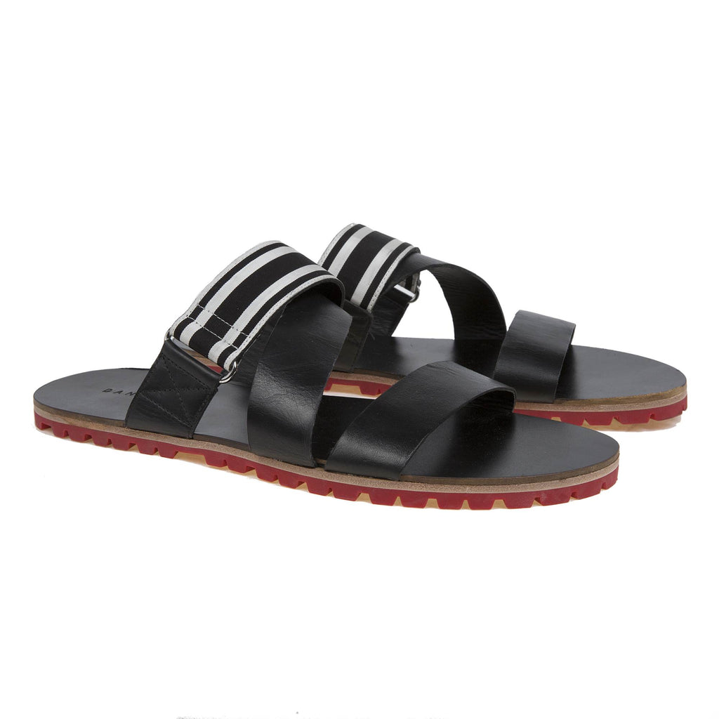 LEATHER MULTI-STRAPPED SLIDE WITH RED LUG SOLE AND GROSGRAIN TRIM