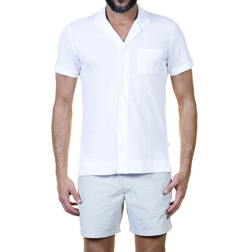 FITTED JERSEY BUTTON DOWN SHORT-SLEEVED SHIRT