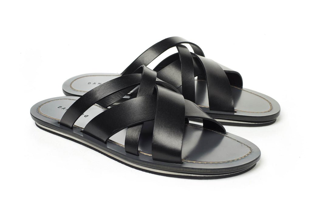 MULTI-STRAPPED LEATHER SLIDE WITH BICOLOR TPU SOLE