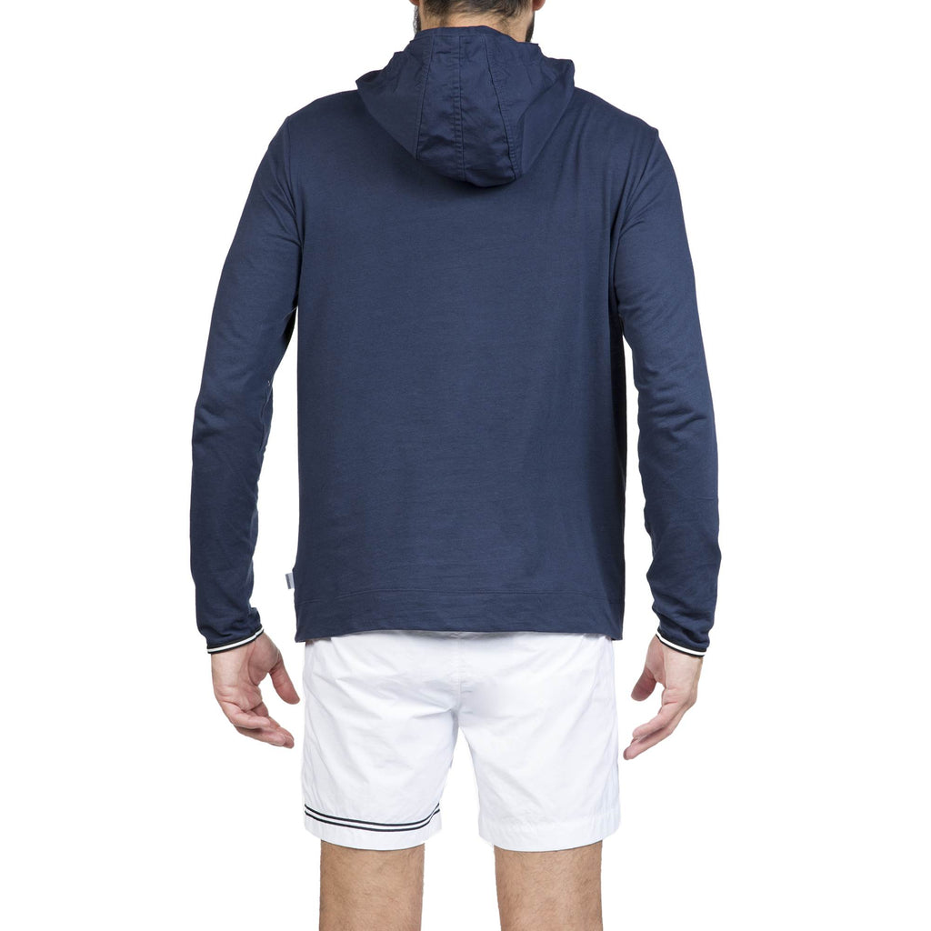 JERSEY LONG-SLEEVED T-SHIRT WITH POPLIN HOOD