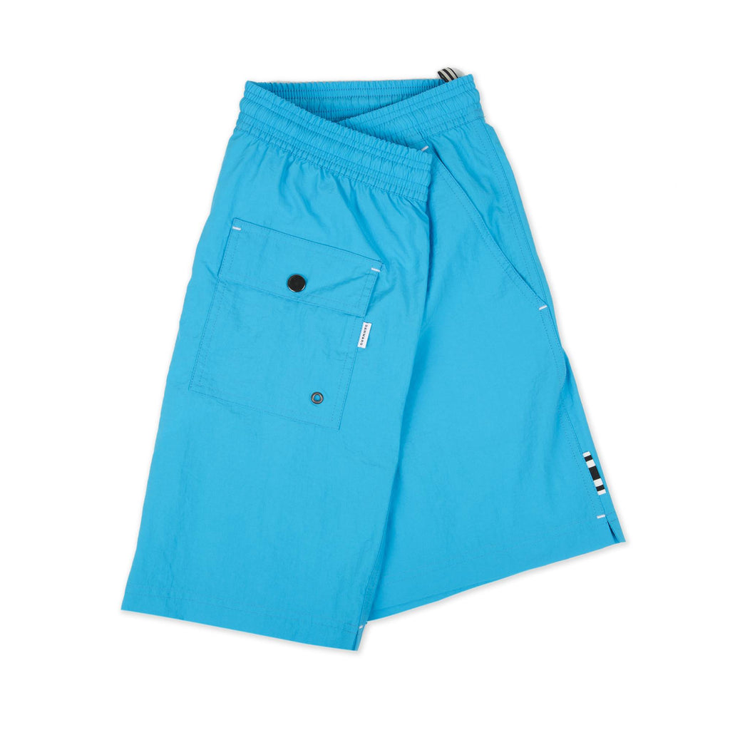 TURQUOISE ELASTICATED MID-LENGTH SWIM SHORT