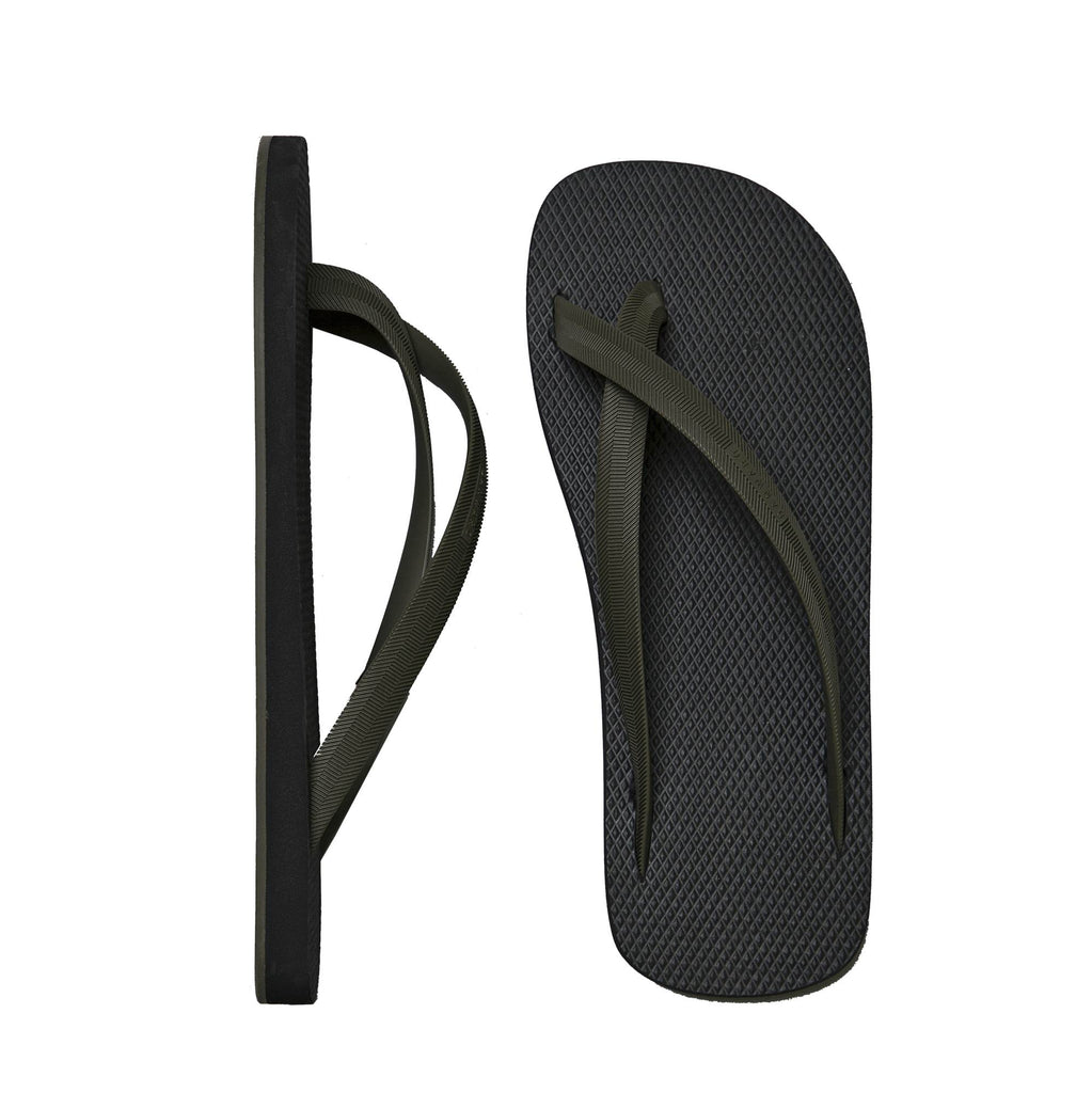 BICOLORED CROSS TOE FLIP-FLOP, BLACK WITH KHAKI