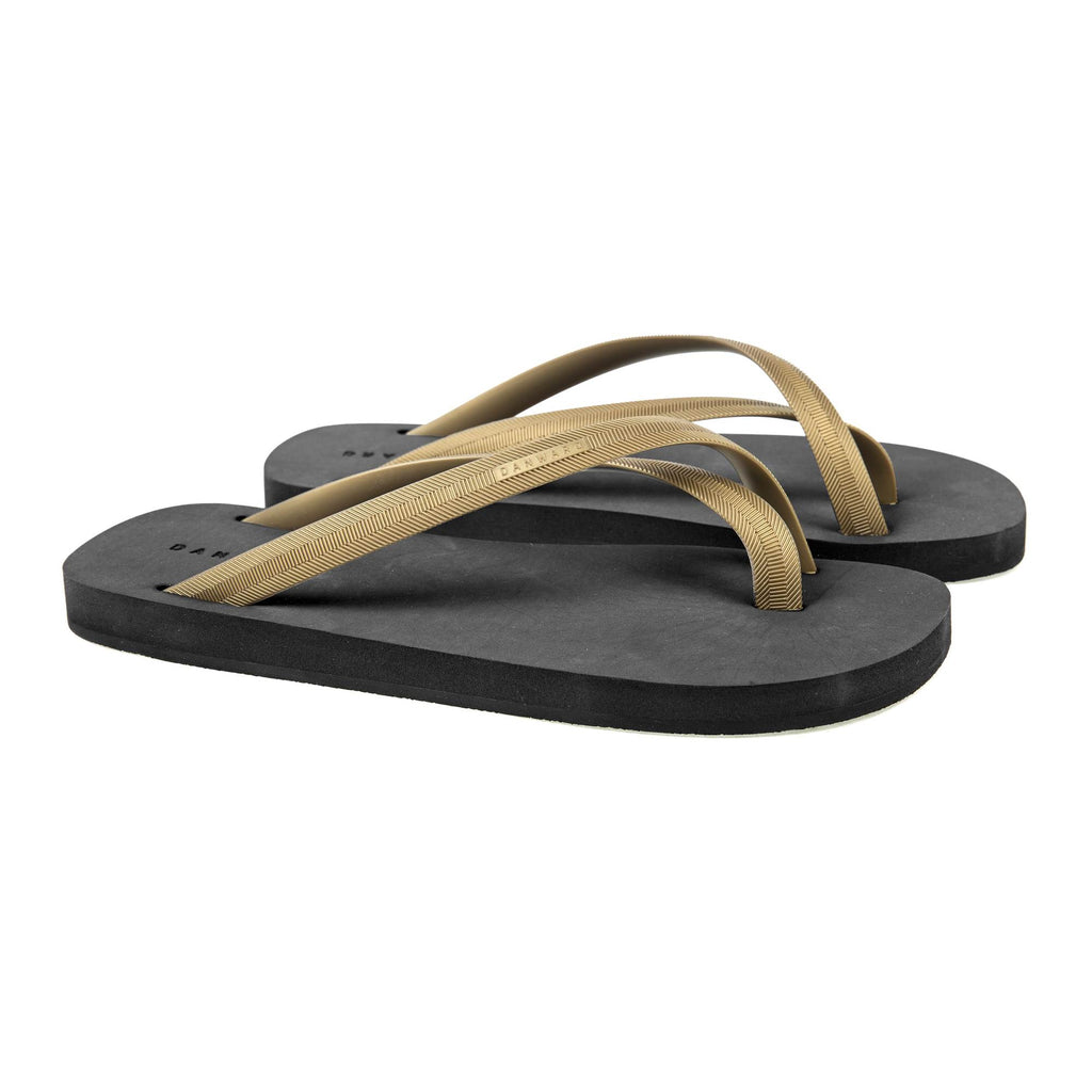 BICOLORED CROSS TOE FLIP-FLOP, BLACK WITH GOLD