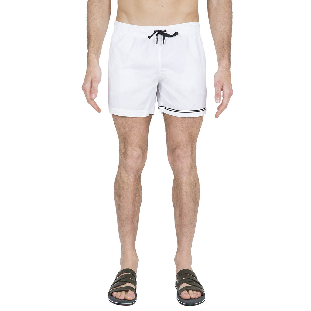WHITE ELASTICATED SWIM SHORT