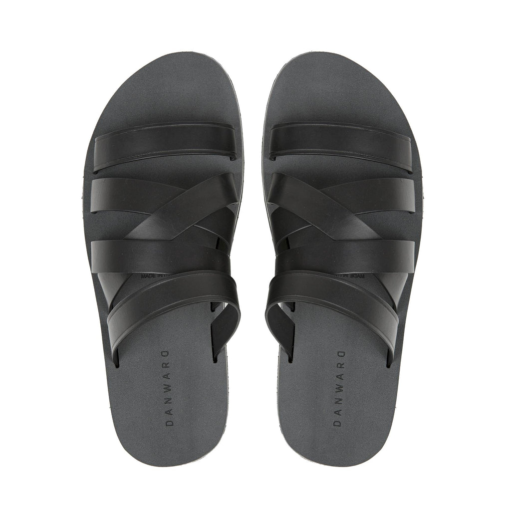 BLACK ASYMMETRICAL MULTI-STRAPPED LEATHER SANDAL WITH MICRO SOLE
