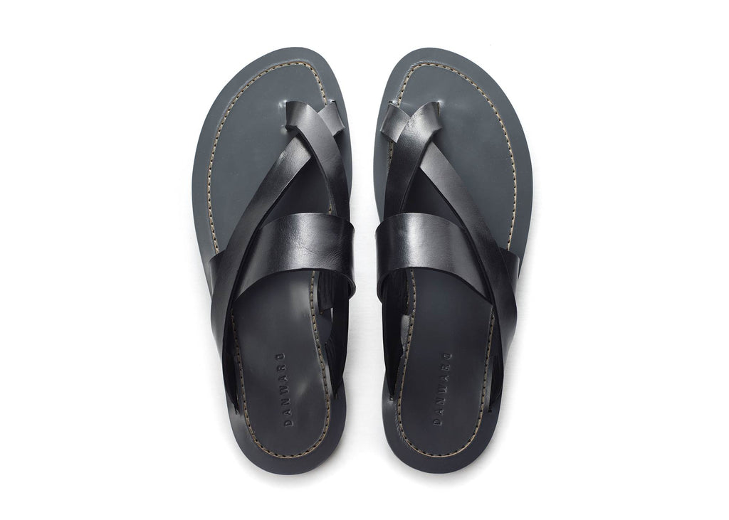 ELEGANT LEATHER CROSS TOE SLIDE WITH BICOLORED TPU SOL