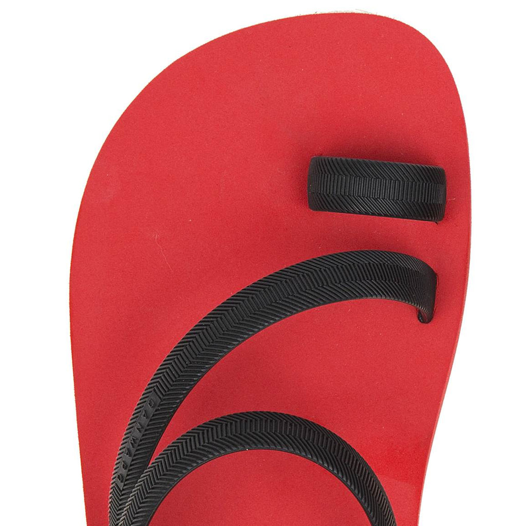 BICOLORED FLIP-FLOP WITH ASYMMETRIC CAGED UPPER,  RED WITH BLACK